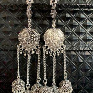 Kolczyki srebrne jhumki