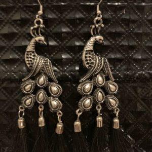 Kolczyki pawie stare srebro z czarnym