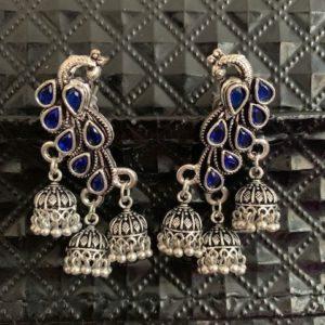 Kolczyki pawie jhumki srebrno niebieskie