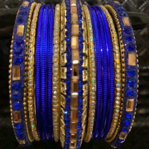 Bangle niebieskie ze zlotem 6,8 cm