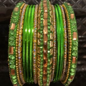 Bangle zielono zlote 6,5 cm