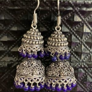 Kolczyki jhumki srebrno fioletowe