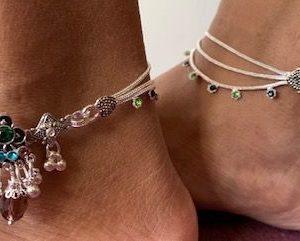Bransoletka na noge srebrna cyrkonie