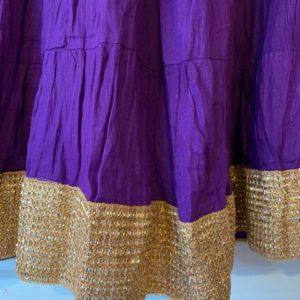 Spodnica bawelna, fiolet ze zlotem