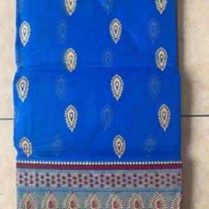 Sari saree bawelna niebieski bordo zloto