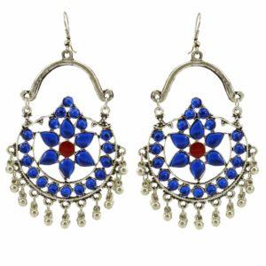 Kolczyki srebrne z niebieskimi oczkami
