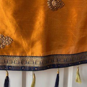 Sari pomaranczowe z dodatkiem jedwabiu