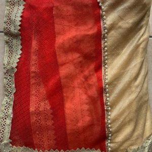Sari saree czerwone ze zlotem i bezem