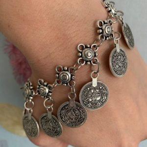 Bransoletka metalowa monetki
