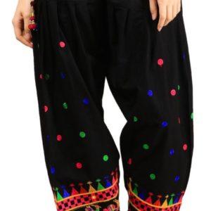Spodnie bawelna czarne, kolorowe wyszycia