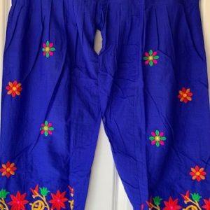 Spodnie bawelna niebieskie, kolorowe wyszycia