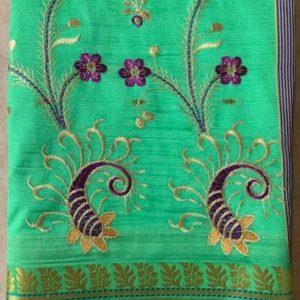 Sari saree zielone  haftowane