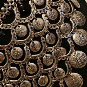 Pasek metalowy srebrny monetki