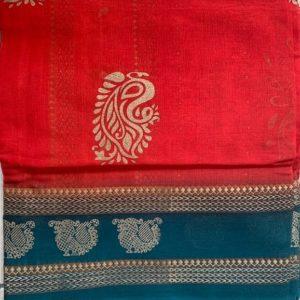 Sari saree bawelna czerwien zielen zloto