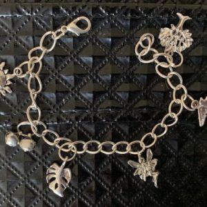 Bransoletka srebrna metalowa zawieszki