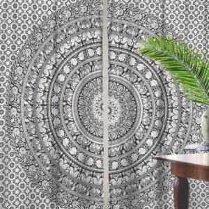 Zaslony bialo czarne mandala 2x po 101×206