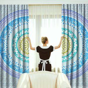 Zaslony bialo niebiesko zielone mandala 2x po 99×206
