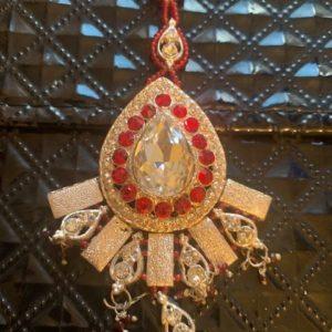 Tikka srebrno czerwona cyrkonie
