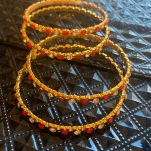 Bransoletki czerwono zlote 6 cm