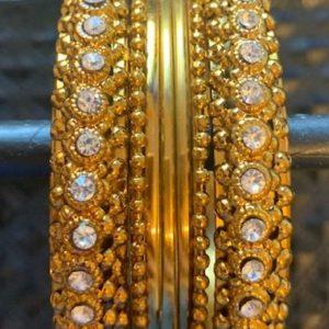 Bransoletki bangle zlote cyrkonie 6,3 cm
