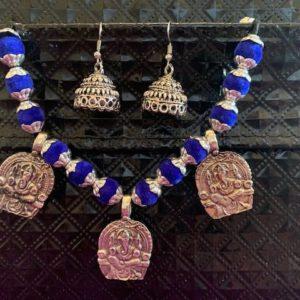 Komplet bizuterii Ganesh srebrno niebieski 494