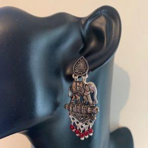 Kolczyki  slonie srebrno czarne