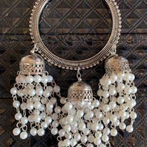 Bransoletka srebrna jhumki koraliki