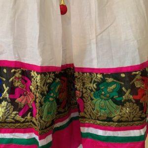 Spodnica bialo kolorowa, bawelna, border (187)