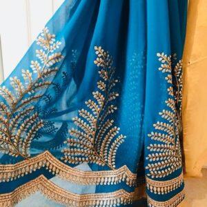 Sari turkus zloto haftowane 090