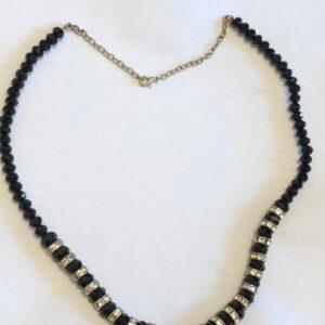 Naszyjnik czarny ze srebrnymi cyrkoniami 723
