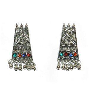 Komplet bizuterii srebrno kolorowy tribal T27