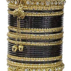 Bangle zloto czarne, dzwoneczki  6,5 cm T104