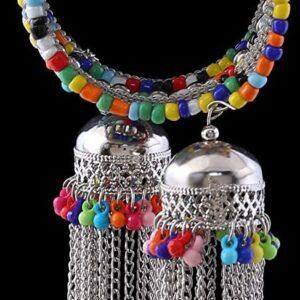 Bransoletka srebrno kolorowa jhumki zakrecana T26
