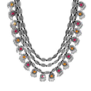 Komplet bizuterii srebrny tribal kolorowe oczka T115