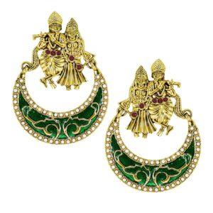Kolczyki Radha Krishna zloto zielone T9