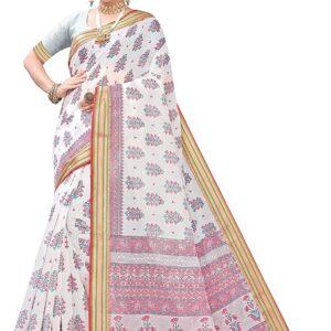 Sari biale kolorowe wzory bawelna  T154