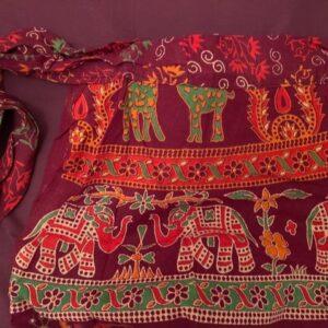Spodnica bordowa, wzory zakladana bawelna T159