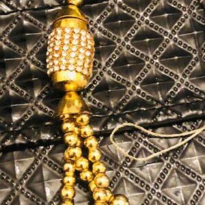 Ozdoba warkocz zlota  cyrkonie T137