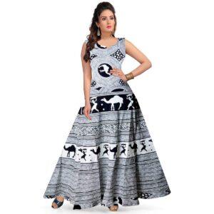 Sukienka czarno biała wzory, bawełna Indie S026