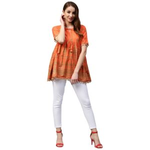 Tunika bluzka pomarańczowa -wzory, bawełna Indie S025