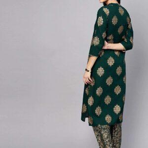 Tunika ze spodniami zielono złote  M/L  Indie S051