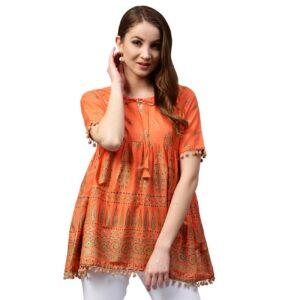 Tunika bluzka pomarańczowa -wzory, bawełna Indie S024