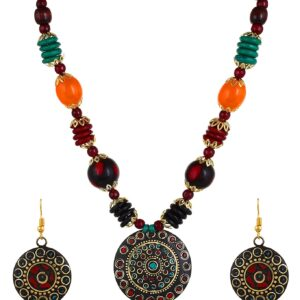 Komplet biżuterii kolorowy  Indie S017