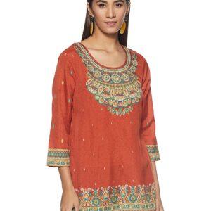 Tunika bluzka pomarańczowa -wzory Indie S036