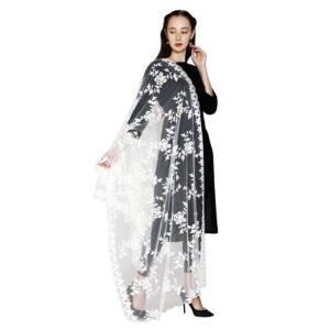 Szal dutatta biała piękne wzory- kwiaty  S093
