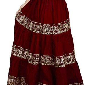 Spodnica  ciemno czerwona ze zlotem S102