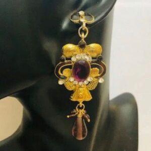 Kolczyki  złoto fioletowe cyrkonie