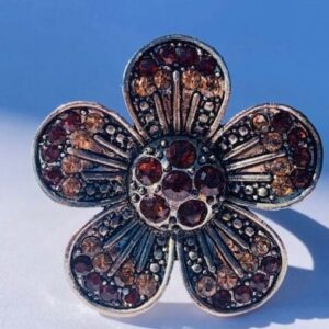 Pierscionek duzy kwiatek srebrno brązowy Indie