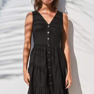 Sukienka Next czarna falbanki bawełna S  S131