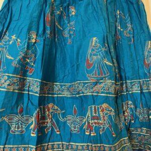 Spódnica bawełna niebieska, kolorowe wzory  Indie A054